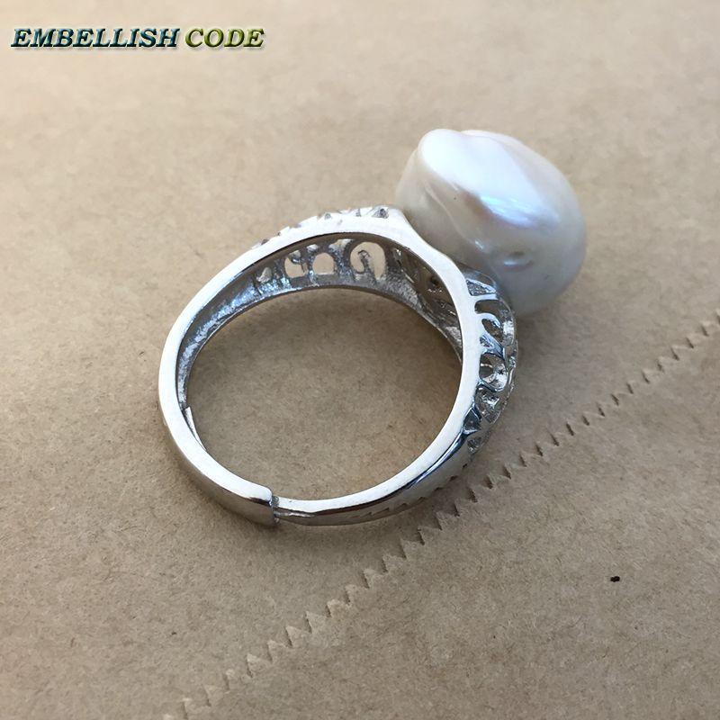 Prilagodljiva velikost Velikost baročnega bisera 925 srebrni prstan - Modni nakit - Fotografija 4