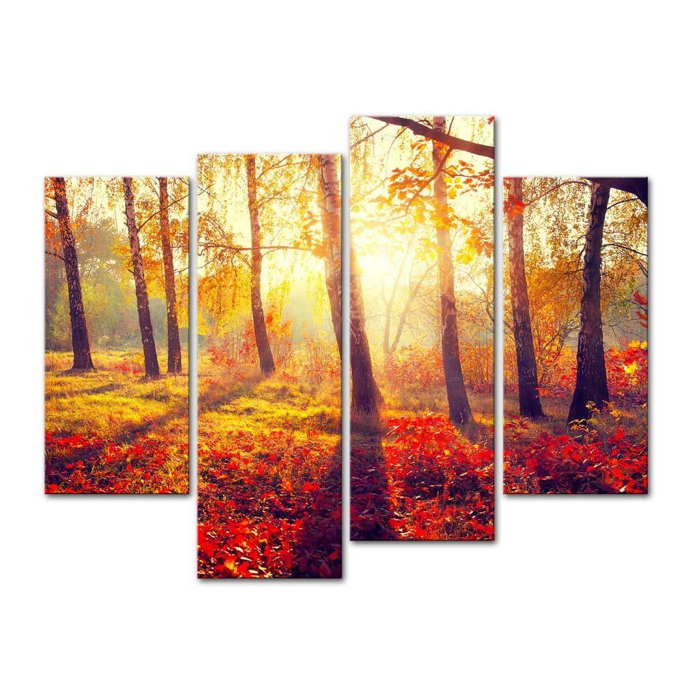 4 Panels Canvas Print Painting Forest Sunset Sunlight Autumn Red ...