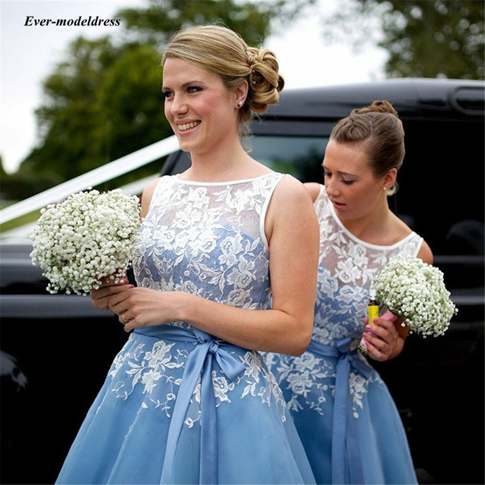 2019 Mint Blue Short   Bridesmaid     Dresses   With Sash Lace Appliques Knee Length O Neck Wedding Guest Party Gowns Maid Of Honor