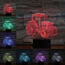 Трехмерная лампа в виде трактора, ночник, светодиодная лампочка, многоцветная вспышка, выцветает, праздничный реквизит, рождественский подарок для детей, девочек, домашний декор