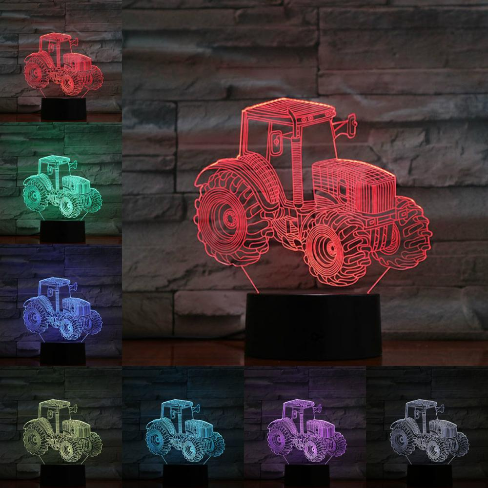 Tractors 3D Lamp Night Light LED Bulb Multi-color Flash Fade Holiday Props Christmas Xmas Gifts For Children Girl Home Decor