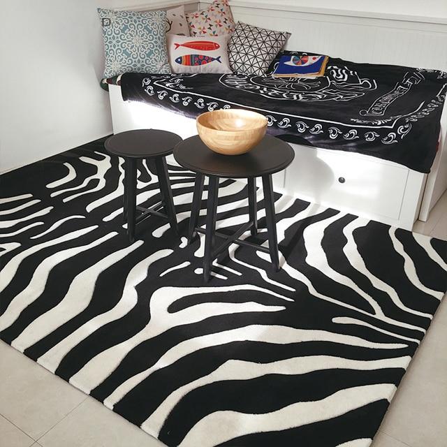 Black white zebra carpet big living room carpet livingroom - Black living room rug ...