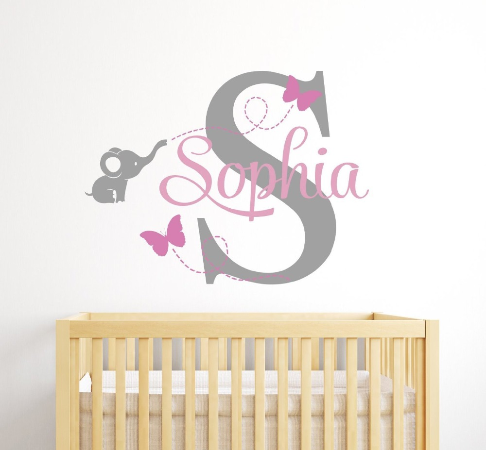 Deer head wall decal option a modern wall decals by dana decals - Customized Name Elephant Butterfly Wall Decal For Girls Kids Baby Room Mural Removable Vinyl Wall Sticker