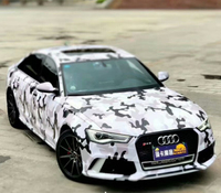 Snow Matte Camo Wrap White Grey Black Camouflage Film Vinyl With Air Bubble Free Vehicle Wrap Stickers