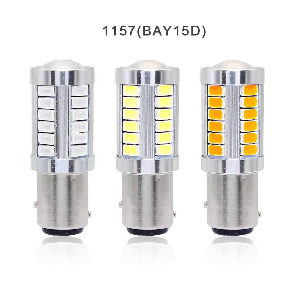 33 1x7443 7440 1156 ba15s 1157 bay15d SMD 5630 LED Light Bulb Car Virar as Costas Sinal de Freio Lâmpada 12 v branco vermelho amarelo