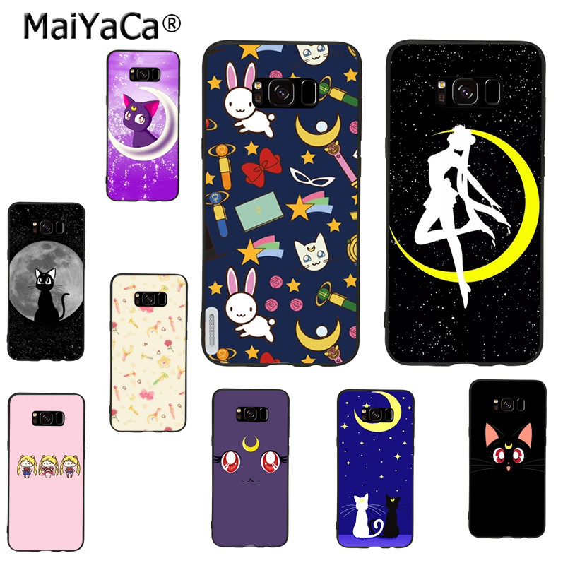 MaiYaCa sailor moon luna cat Ultra Thin Cartoon Phone Case for samsung galaxy s9 plus note 4 note5 note8 s7 s6 s8 plus case