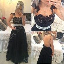Voll Sexy Backless Flügelärmeln Black Lace Lange Elegante Abendkleider 2017 Durchsichtig Tüll Abendkleider Party Kleider Vestidos