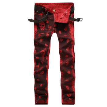 Red White Skull Pattern Printed Punk Slim Fit Motorcycle Biker Jeans