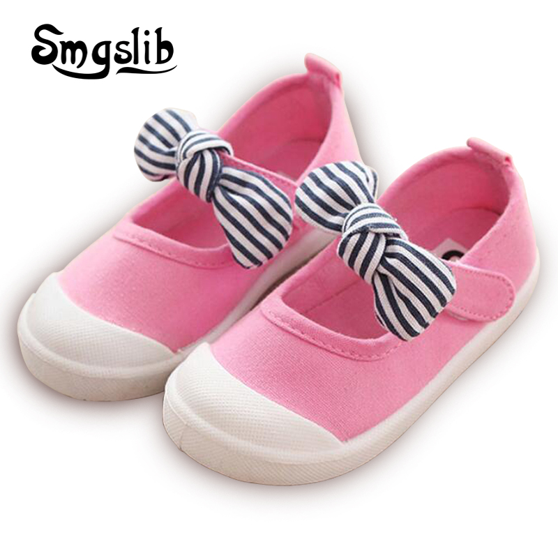 Children Shoes baby Girls Canvas Shoes 2018 Striped Bowknot baby Boys candy colors Sneakers Spring Summer Flats School Shoes