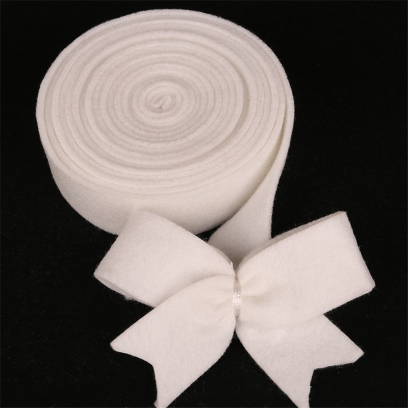 2.5cm Wide 5m Long White Color Wool Felt DIY Craft Supply Bow Tie Making For