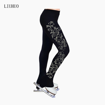 LIU HUO Ice skating long pants Figure Skating Trousers Girls adult figure training Exquisite patterns Rhinestone - discount item  40% OFF Stage & Dance Wear