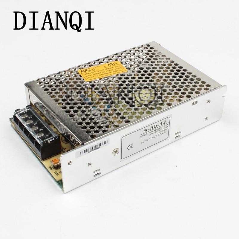 DIANQI power suply 50w 12v 4.2A power supply unit ac to dc power supply ac dc converter    S-50-12 1pcs 60w 12v 5a power supply ac to dc power suply 12v 60w power supply 100 240vac 111 78 36mm