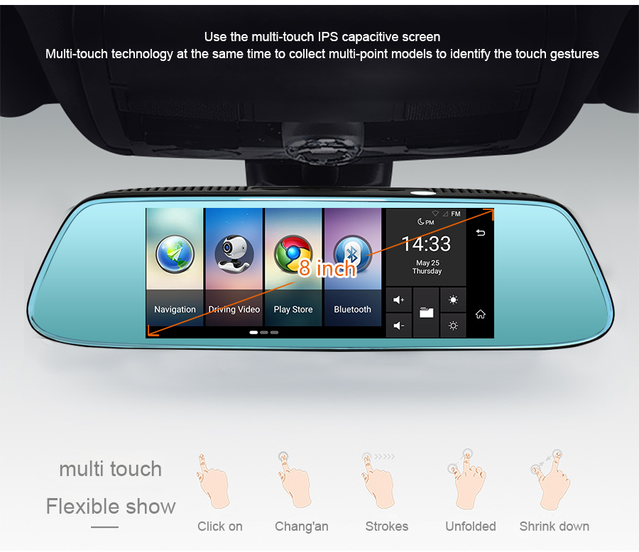 "Junsun 8"" 4G Newest Mirror Car DVR Camera Android 5.1 with GPS DVRs Automobile Video Recorder Rearview Mirror Camera Dash Cam 23"