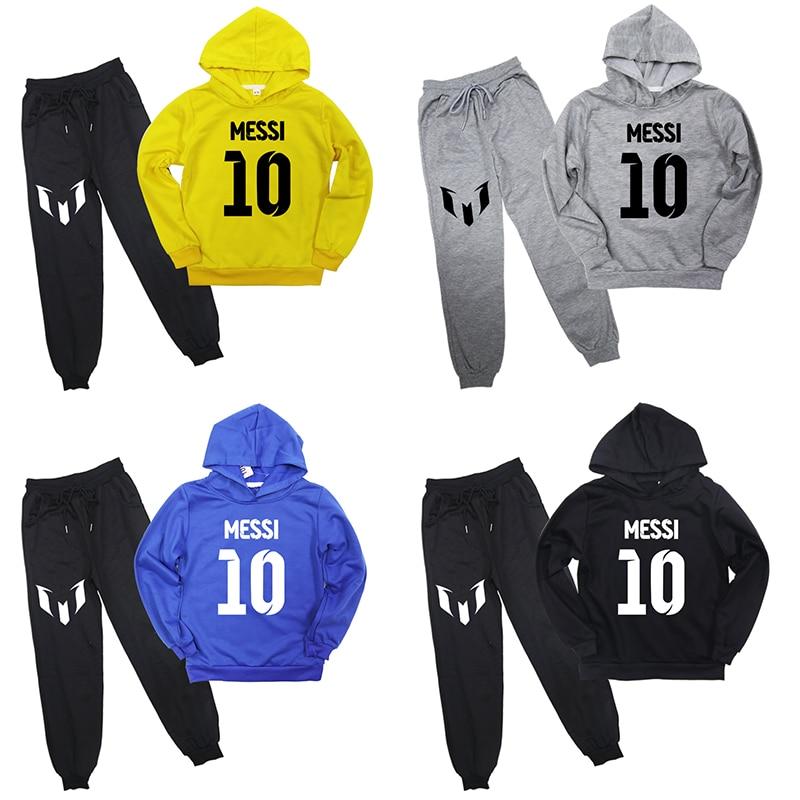New Fashion Messi Sweatshirt Pants Suit Printing Boys Girls Pullover Hoodies Sportswear Tops Children Kids Outwear Sweatshirts