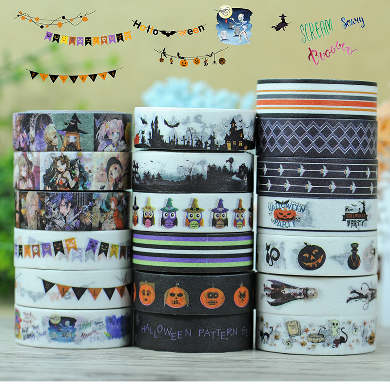 2017 New 1x Halloween Tape Set Japanese Stationery Masking Washi Tape Decorative For Scrapbooking Tools Office Adhesive Tape 10M