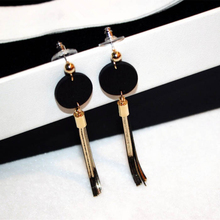 New Black Green Wood Europe USA Popular Temperament Circle Tassel Earrings For Women long earring gifts brincos oorbe jewelry