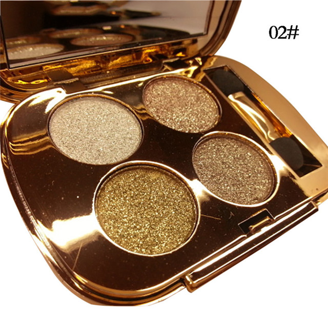 New 4 Colors Gold Smoky Cosmetics Diamond Bright Glitter Eye Shadow  Professional Eye Makeup Eyeshadow Palette 2