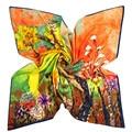 100cm Womens Big Square Silk Scarf Winter Warm Silk Twill Large Pashmina Luxury Brand Oil Painting Shawl Hot Floral Hijab Wrap