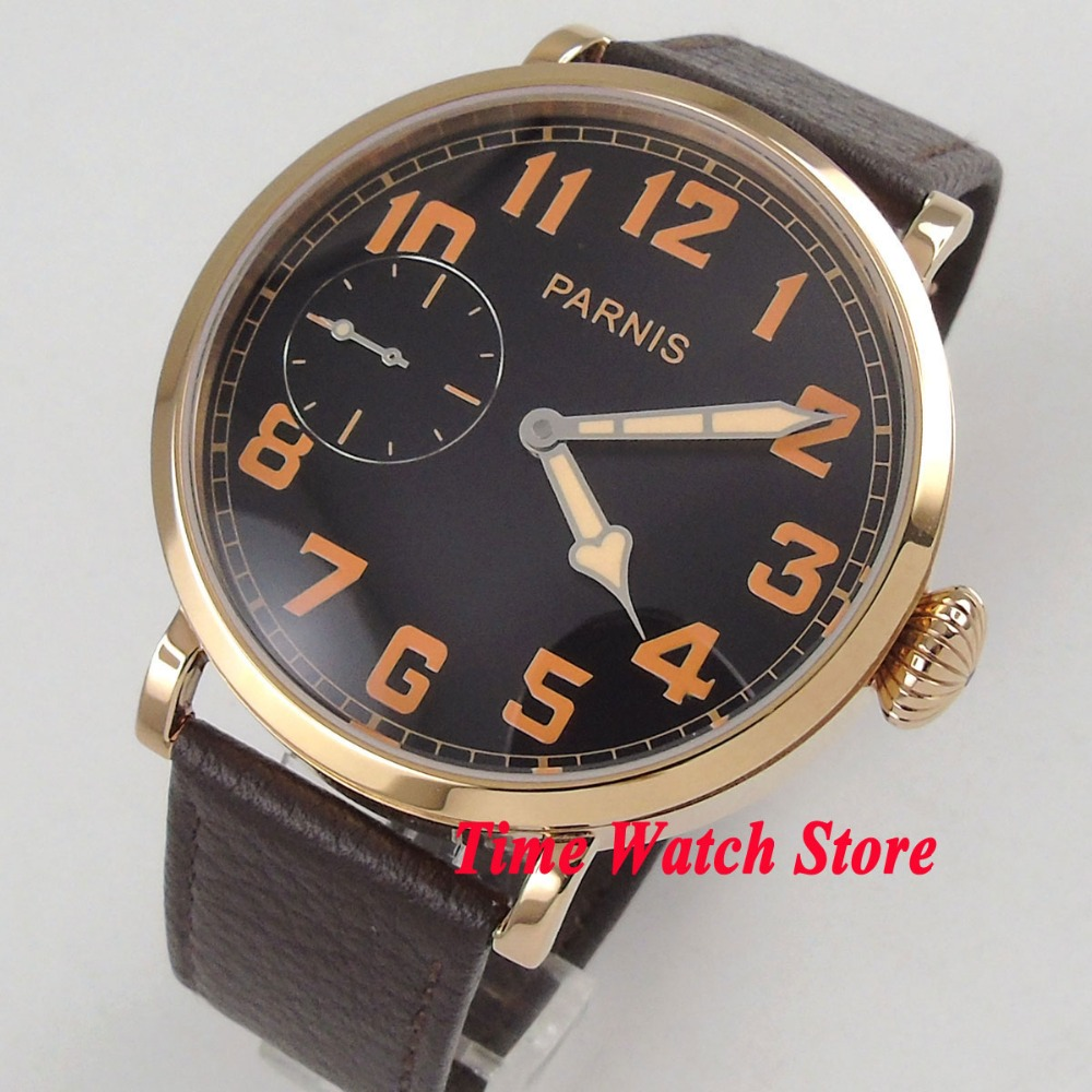46mm parnis black dial gold case luminous leather strap deployant clasp 6497 hand winding movement mens watch 40546mm parnis black dial gold case luminous leather strap deployant clasp 6497 hand winding movement mens watch 405
