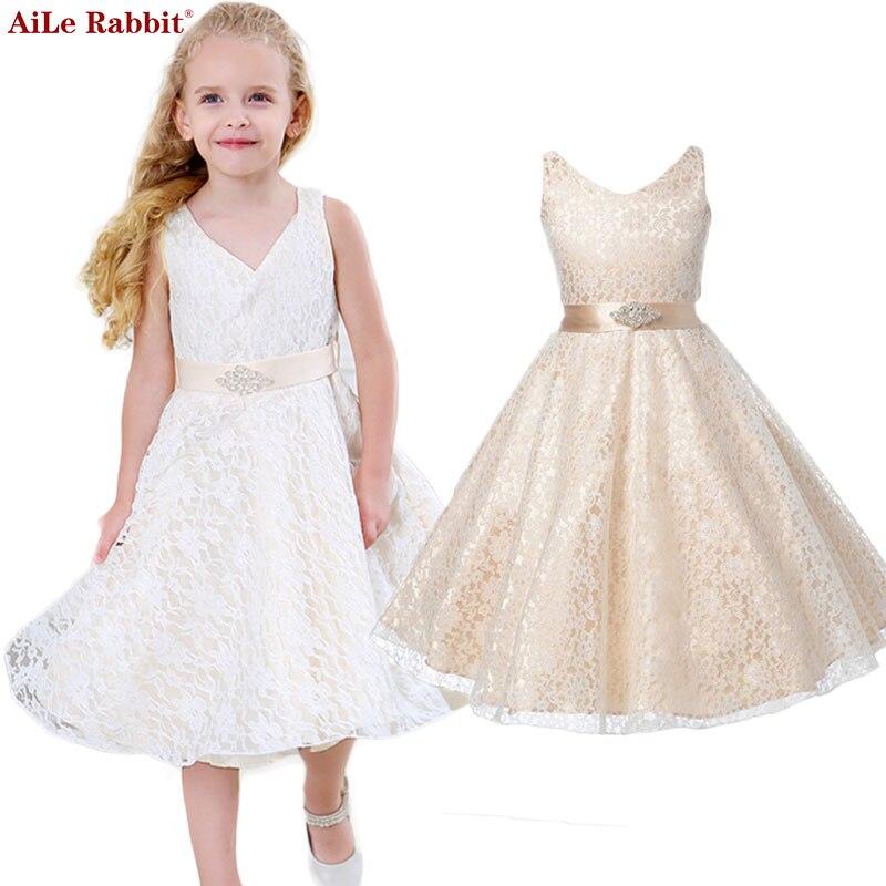 AiLe conejo niñas desgaste del partido ropa para niños verano sin mangas de encaje princesa vestido de novia niñas adolescentes bien partido vestido