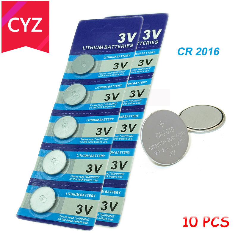 10 PCS/lot CR2016 3V Lithium Battery DL2016 ECR2016 LM2016 BR2016 CR 2016 Button Coin Batteries