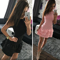 Fashion Simple Multilayer Flounced Solid Color Slim Was Thin Sleeveless Crewneck Dress Black and Pink Color Free Shipping