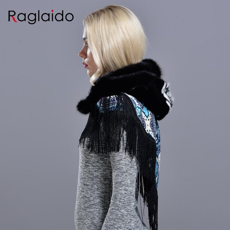 Image 5 - mink fur hood hats for women winter fashionable luxury girls female warm stylish real fur elegant tassel scarf hatWomens Bomber Hats   -