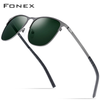 FONEX Driving Sports Outdoor Screwless Alloy Sunglasses Men Brand Designer 2019 New Polarized Sun Glasses for Women Shades Gafas