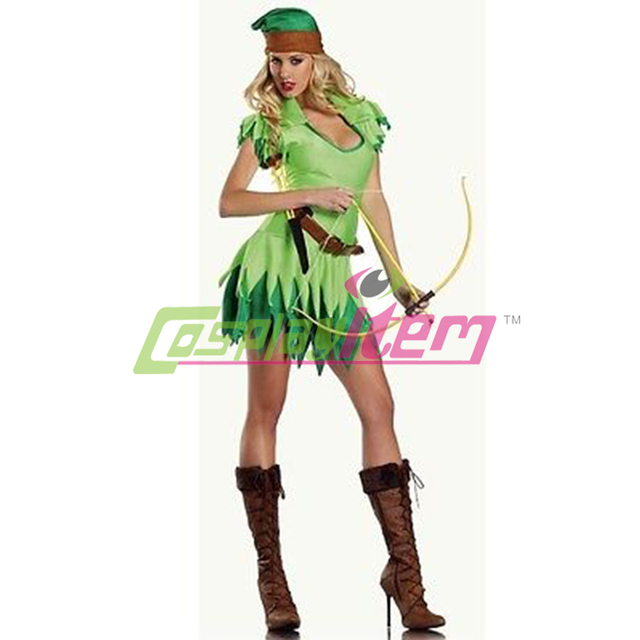 customized Woman Green Sexy Fairy Cosplay Tinkerbell Fancy Dress Costume  Tinkerbell with hat Halloween Adult