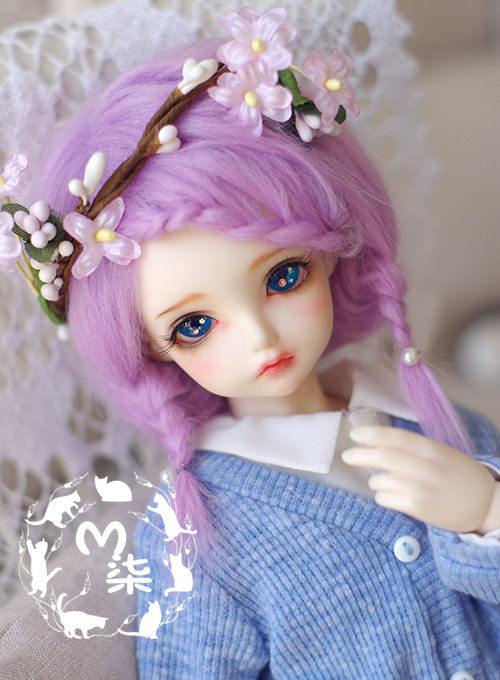 1/3 1/4 1/6  1/8 1/12 BJD Wigs Fashion purple fur wig bjd sd short wig for DIY dollfie 1 1 9l
