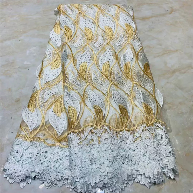 Nigeria Lace Fabric 2019 French Lace Embroidered Tulle Lace With pearls African Net Lace High Quality For Evening WD061303