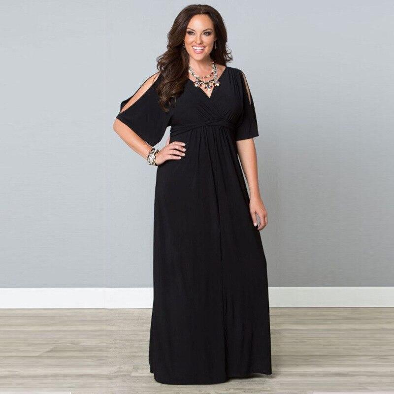 Tamaño grande XL-5XLWomen de manga corta para mujer vestido  negro largo delgado