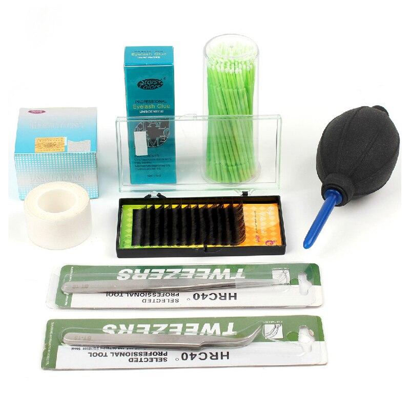 extensao dos cilios conjunto 8 pcs kit ferramenta cola para cilios cilios posticos maquiagem profissional kit