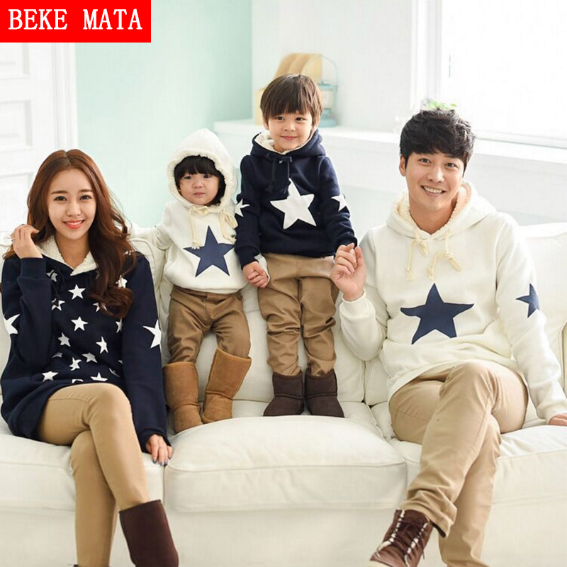 BEKE MATA Family Matching Clothing Winter Thicken Cotton Mother Daughter Clothes Set Warm Family Look Father