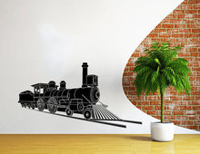 Nursery Bedroom Art Design Decorative Wall Mural Locomotive Tain Pattern Vinyl Sticker Cool Boys Room Decor Y-929
