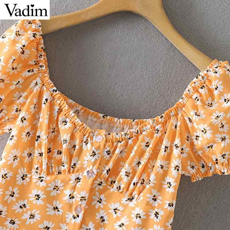 Vadim נשים מתוק סלאש צוואר פרחוני מיני שמלה כבוי כתף פאף שרוול נקבה מקרית שמלות קיץ חוף קו vestidos QB678