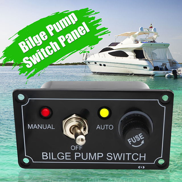 DC12V LED Indicator Bilge Pump Switch Panel with Fuse Housing 3 Way Toggle Switch Panel Manual-Off-Auto for RV Marine Boat