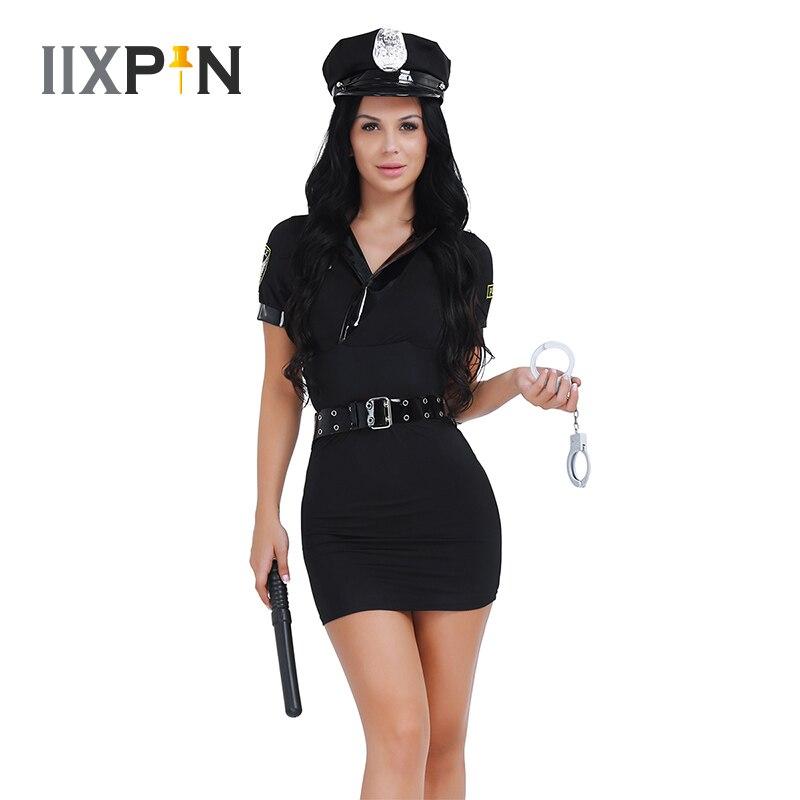 IIXPIN Sexy Women Police Uniform Officer Costume Policewoman Halloween Cosplay Costume Fancy Dress With Belts Handcuffs Spontoon