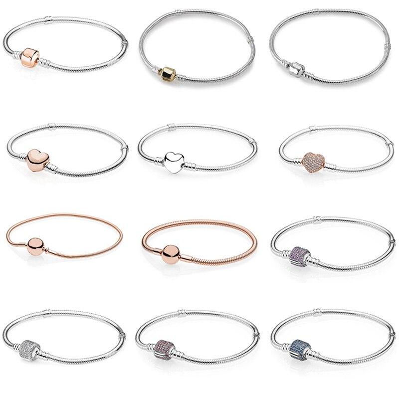 925 Sterling Silver Basic Snake Chain Bracelets For Women