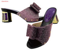 Doershow New Arrival African Woman Sandals Purple Shoes Italian Rhinestone Fashion High Heels Shoes For Party