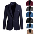 Elegante Mens Casual Homens Slim Fit Formal One Button Brasão Suit Blazer Jacket Tops