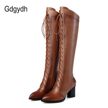 Gdgydh Spring Women Winter Knee High Boots Lacing Black Female Genuine Leather Boots Ladies Square High Heels Rubber Sole Shoes