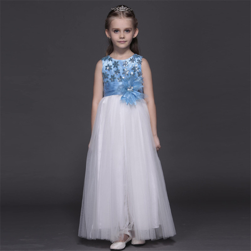 4-10year Summer Cute Flower Girls Dress Sequined Mesh Girl Clothing Sleeveless Princess Dresses Girl Costume Kids Long Vestido футболка классическая printio злая морковка