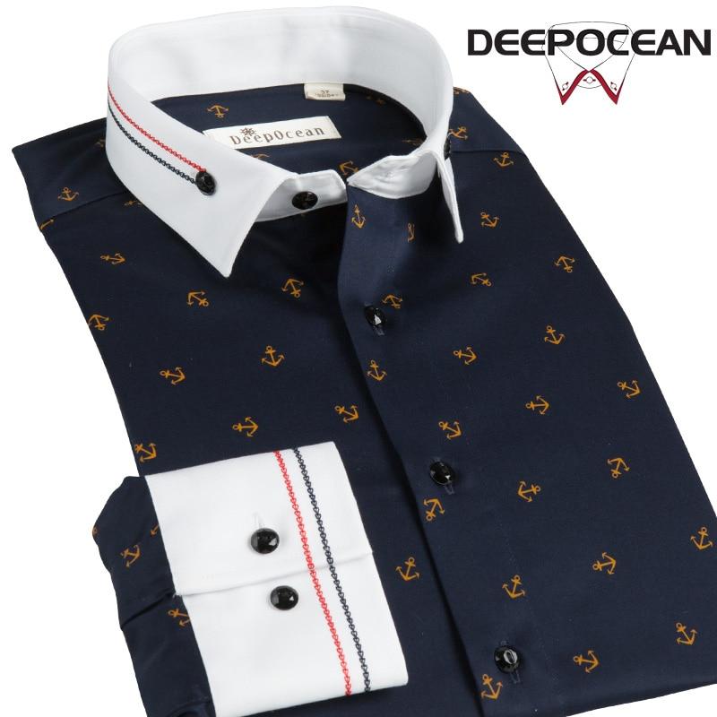 Deepocean Fashion Men Shirt Print Solid Cotton Shirt Men Clothes Smart Casual Business Shirts Camisa De Hombre