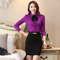 Novelty Purple 2016 Spring Autumn Formal OL Styles Professional Work Wear Suits With Tops And Skirt Ladies Office Outfits Set