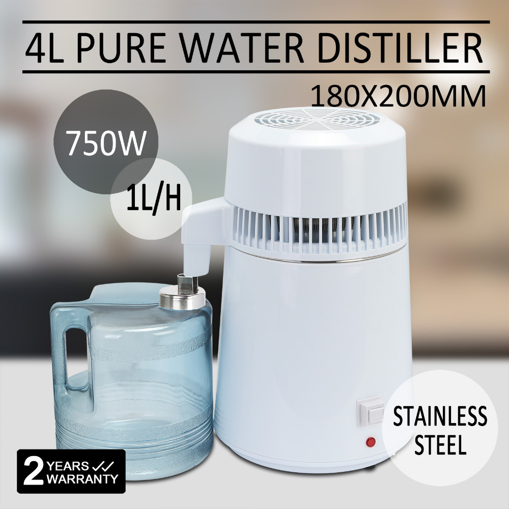 4L PURIFIER DENTAL LAB MACHINE HOME 750W STAINLESS STEEL WATER FILTER DISTILLER 110v 4l stainless steel water filter distiller purifier dental machine home water distiller