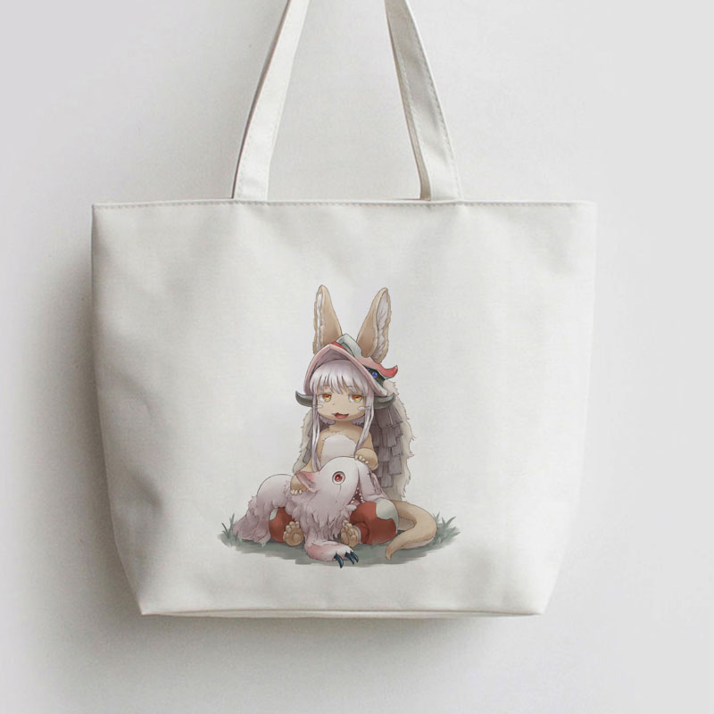 Made In Abyss Nanachi And Miti Animation Comic Cosplay Canvas Shopping Bag Cartoon Tote Bags School Book Cute Gift AN076
