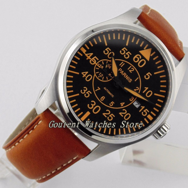 44mm Parnis verre saphir acier cadran noir miborough montre pour homme automatique