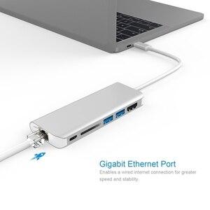 Image 5 - Amkle 6 w 1 USB 3.0 HUB USB 3.1 typ C na HDMI/USB 3.0/RJ45/SD/TF/typ C konwerter adaptera dla Macbook Pro Google Chromebook