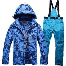 Мужская лыжный костюм Устанавливает Открытый Сноуборд Одежда 10 К водонепроницаемый и ветрозащитный зима 30 Теплый Снег куртки и комбинезоны с нагрудниками Дешевые брюки